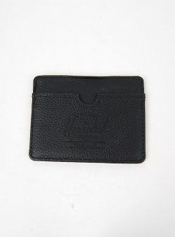 Herschel Charlie leather credit card holder Black pebble leather