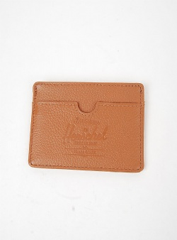 Herschel Charlie leather credit card holder Tan pebble leather