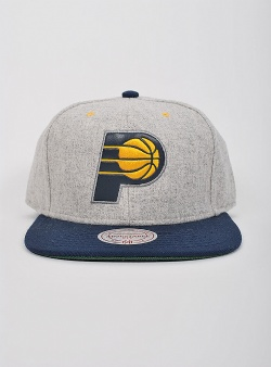 Mitchell and Ness Pacers melange flannel snapback Grey heather navy