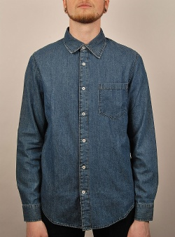 Cheap Monday Rude denim shirt Solid blue