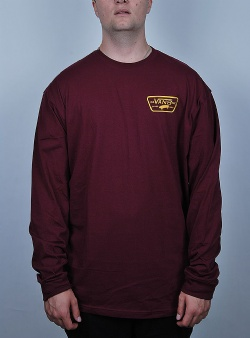 Vans Full patch back long sleeve tee Burgundy mineral yellow