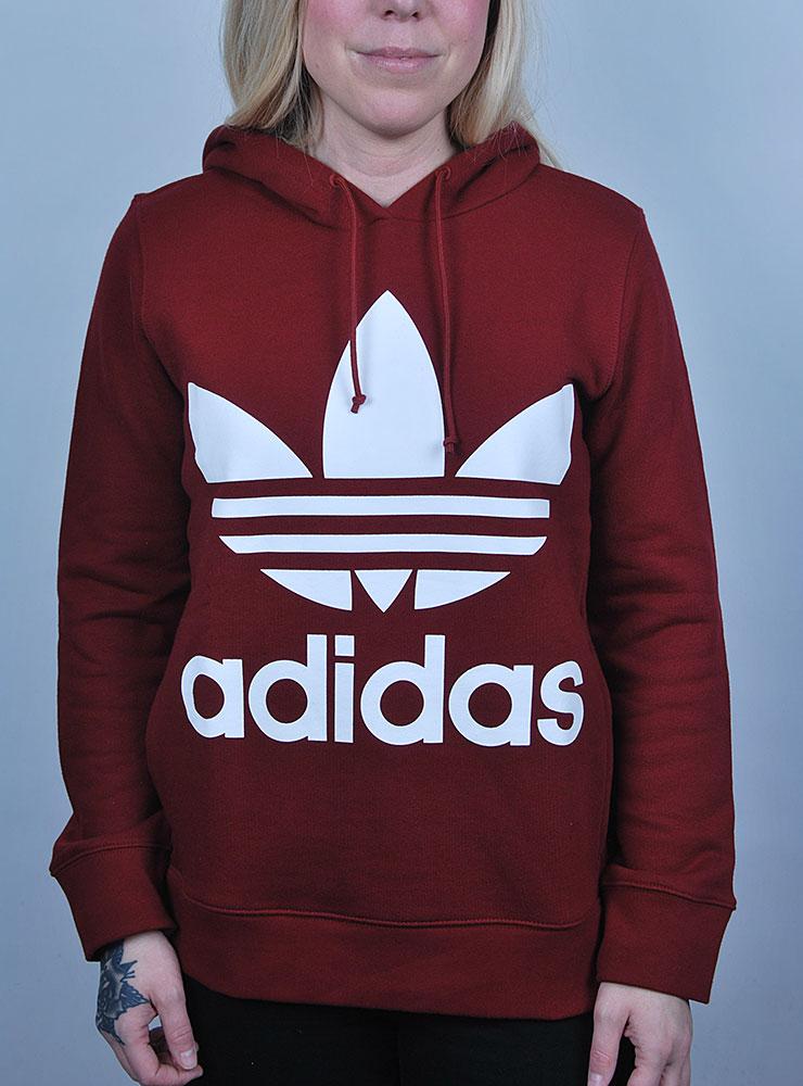 Vinröd Adidas hoodie Trefoil