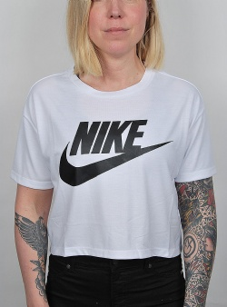 Nike Essntl top crop ss White black