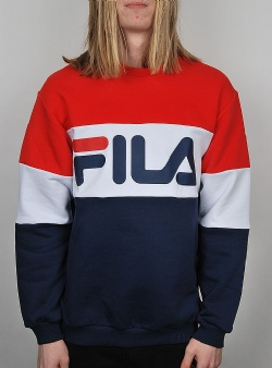 Fila Straight blocked crew Peacoat high risk red bright white