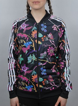 Adidas Superstar track top Black flowers
