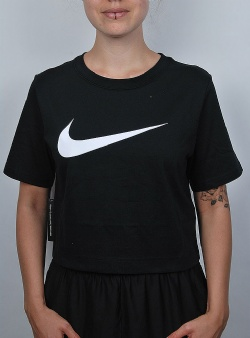 Nike Swsh top crop ss Black white