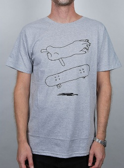 Dedicated Cat flip tee Grey melange