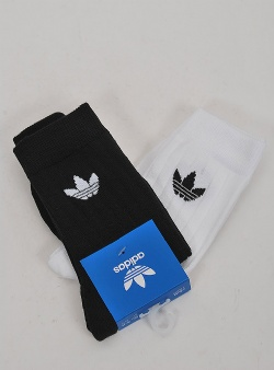 Adidas Mid rib crew sock 2 pack Black white