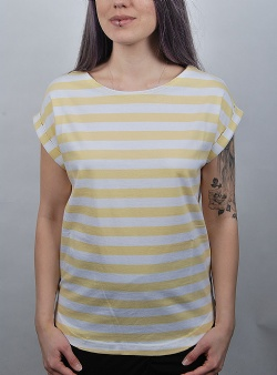 Wemoto Bell striped tee Tender yellow white