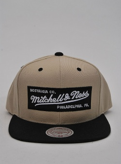 Mitchell and Ness Box logo snapback Khaki black
