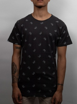 Dedicated Bike pattern tee Charcoal