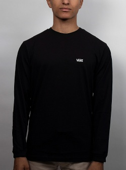 Vans Left chest hit ls tee Black white