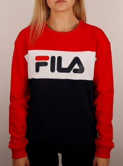 Fila Leah crew sweat Black iris true red bright white