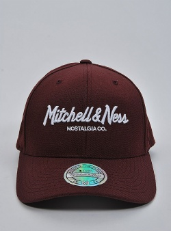 Mitchell and Ness Pinscript 110 flexfit snapback Burgundy