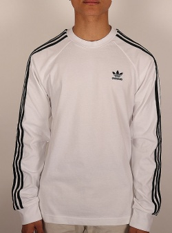Adidas 3 stripes ls tee White