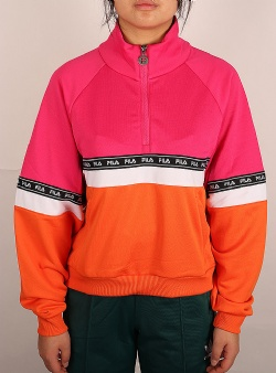 Fila Chinami half zip shirt pink yarrow mandarin orange bright white