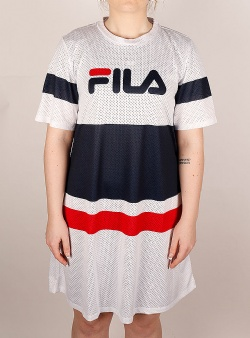 Fila Basanti tee dress Bright white black iris true red