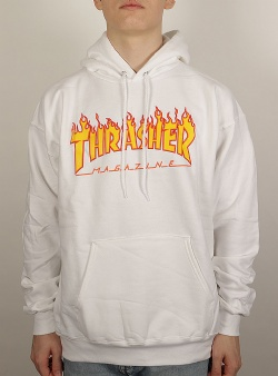 Thrasher Flame hood White