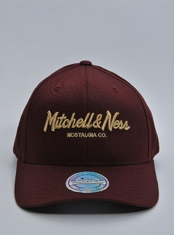 Mitchell and Ness Metallic pinscript 110 flexfit snapback Burgundy gold