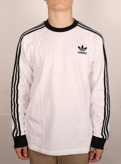 Adidas 3 stripes ls tee White black ringer