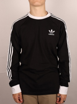 Adidas 3 stripes ls tee Black white ringer