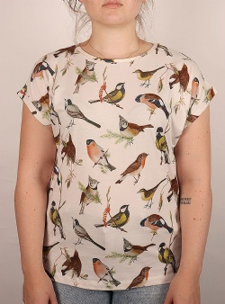 Dedicated Autumn birds Visby tee Off white