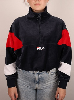 Fila Bellini cropped velvet half zip Black iris true red bright white