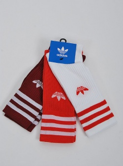 Adidas Solid crew sock 3 pack White red cburgundy