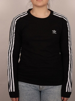 Adidas 3 stripes ls tee w Black white black ringer