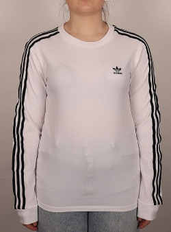 Adidas 3 stripes ls tee w White black white ringer