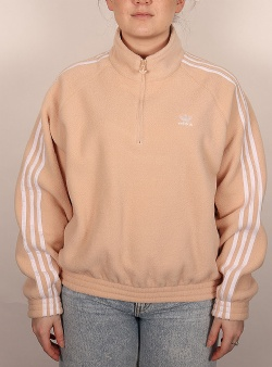 Adidas Fleece half zip Halblu white