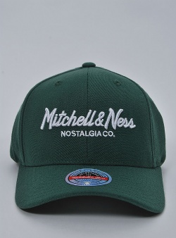 Mitchell and Ness Pinscript redline snapback Dark green