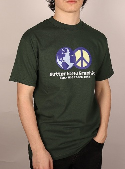 Butter Goods World peace tee Forest green