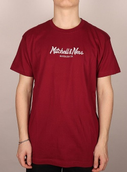 Mitchell and Ness Pinscript tee Burgundy