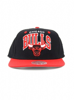 Mitchell and Ness Bulls team arch 2 tone snapback Black
